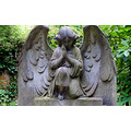 angel stone grave headstone grenn leaves