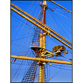 sail ship blue yellow sailing lines transportation ladder mast rigging angles