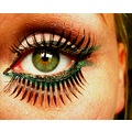 close up eye green lashes macro reflection people woman after party keitology