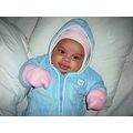 winter time overal blue pink baby girl