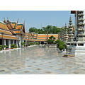 Outside temple floors cleaned several times a day Wat Suthat Temple in Bangkok