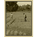 landscape tree sky field work woman man inland water documentary sepia
