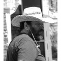 Candid Portrait BW Straw Hat Sunlight