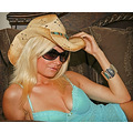 cow girl female blonde model