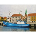 Fishingboat Helsingor August 2012 Blue White Harbour Norteast Denmark