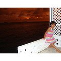 baby enjoying the sunset on the other island (Savaii in Samoa) from a small resort...