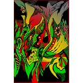 abstract black red yellow green vignette shadow frame my cheeetah