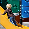 boy children playground slide