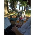 granitbiscut on his new laptop at lake almanor with sattelite internet