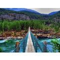 swinging bridge over the Kootnai River in northwest Montana