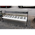 piano black white bench park