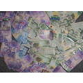 money collage colorful