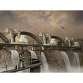 waterfall photomontage dam fantasy cat heron selfportrait futuristic