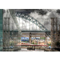 'Bridge reflections': Reflection of some of the River Tyne bridges in a glass building next to th...
