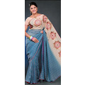 Blue Faux Georgette Saree with Blouse