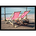 deckchairs stripes red sidmouth promenade beach coast