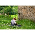 Man work village farm countyside grass field France people farmer
