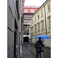 city Prague people rain