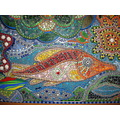 fish mosaic glassbeads colored glass
