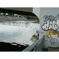 river sport graffiti bridge Prague Bohemia