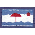 3d art painting red parasol and sun the blue sky sea