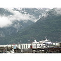 northtoalaska coralprincess alaska skagway ship clouds mountains
