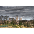 cooling towers industry smoke cloud landscape pontefract yorkshire HDR