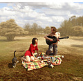 picnic landscape cat guitar woman photomontage romantic