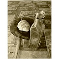 shadow light object bottle dish croissant table tribute retro artistic