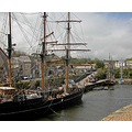 Cornwall Charlestown Harbour UK Ship Boat Sail Moored Sea Coast Mast Hull