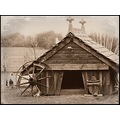 farm shed sepia