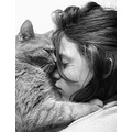 girl child cat tenderness sleep France portrait animal bw milibuhscatclub