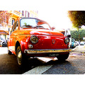 Rome Fiat 500 retro car shine red parking