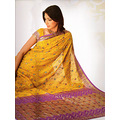 Golden Yellow Viscose Saree with Blouse