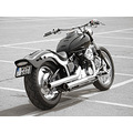 Yamaha Dragstar black and white motorcycle