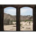Namibian Desert A look thru the old farm house window to the threes in the dried-up river