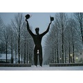 statue in the snow this evening 