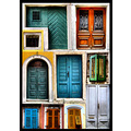 doors windows old building architecture colours croatia labin patchwork