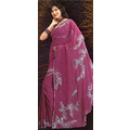 Deep Magenta Georgette Saree with Blouse