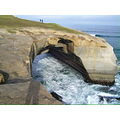 Tunnel Beach Dunedin Coast Pacific Ocean Ledge Hole