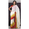 Off White Georgette Saree with Blouse
