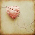heart pink needle and thread sewing