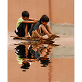fun kids people reflection water sports