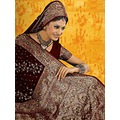 Dark Maroon Faux Georgette Saree with Blouse