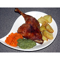 Roast duck, duck fat fried potatoes, brocolli purée, mashed carrots. Christmas dinner for one, 2...