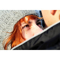 red hair girl irina winter together they lovely eyes portrait