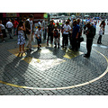 The middle circle is the 'Centre' of Moscow. People stand on the sopt, make a wish ans throw mone...