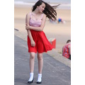 girl dress windy beautiful happy hare eyes park blue red water sea sand