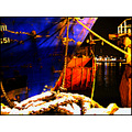 night harbour harbor sea ship blue rope bow boat reflection