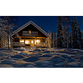yllas cottage finland winter night moonlight snow